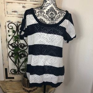 Torrid nautical striped open knit blouse coverup
